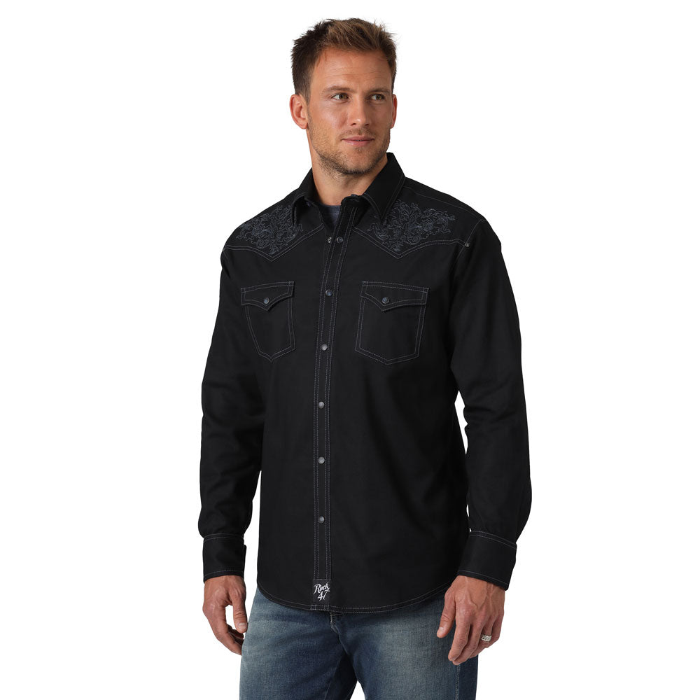 MRC383X Rock 47 By Wrangler Men's Black L/S Western Snap Shirt Embroidered Yokes