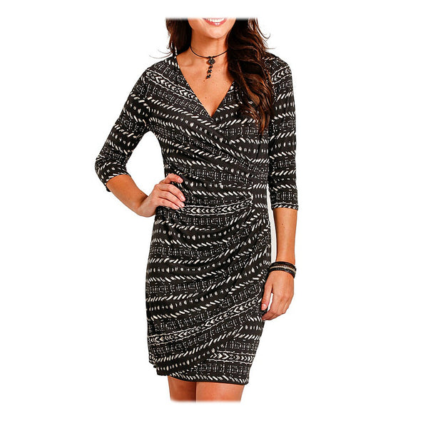 L9D3621 Panhandle Ladies Black Print Dress With Draped Mock Surplice Front