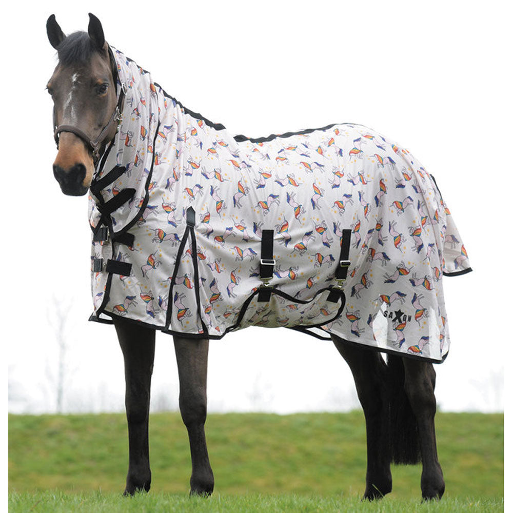 Saxon Combo Neck Mesh Fly Sheet Unicorn Print Weatherbeeta SO CUTE!