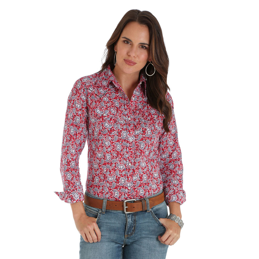 LW2035M Wrangler Women's Long Sleeve Red & Blue Paisley Western Snap Shirt