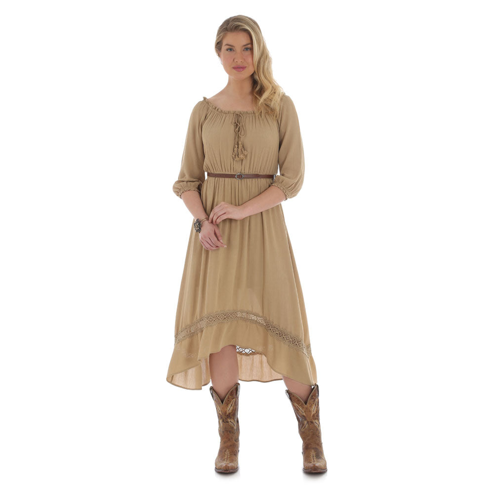 LWD748T Wrangler Women's Tan Belted Western Dress
