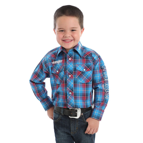 BP1320M Wrangler Boys Long Sleeve Western Snap Shirt Blue & Red Plaid