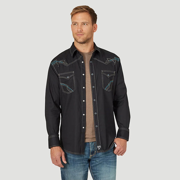 MRC391K Rock 47 by Wrangler Men's Black Western Snap Shirt Embroidery Long Sleeve