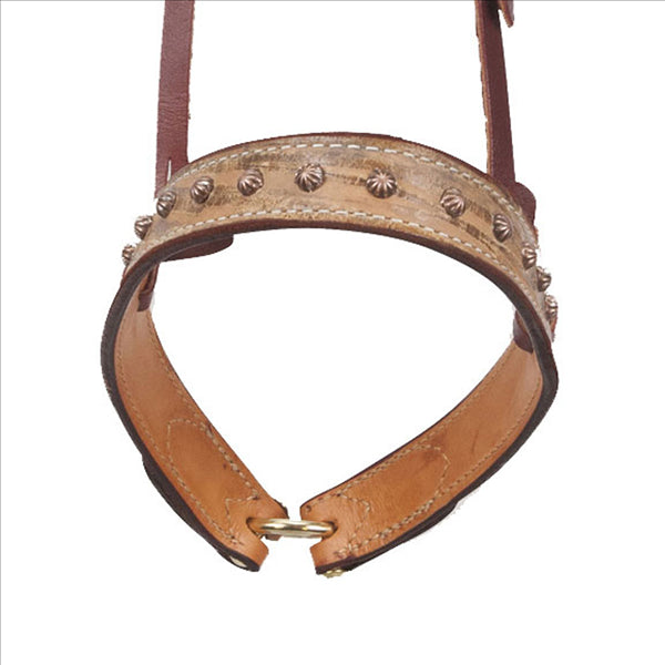 20253A Cactus Saddlery Noseband - Driftwood with Copper Bullet Studs