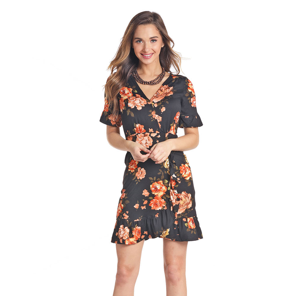 J0-4687 Panhandle Juniors Black Floral Wrap Dress