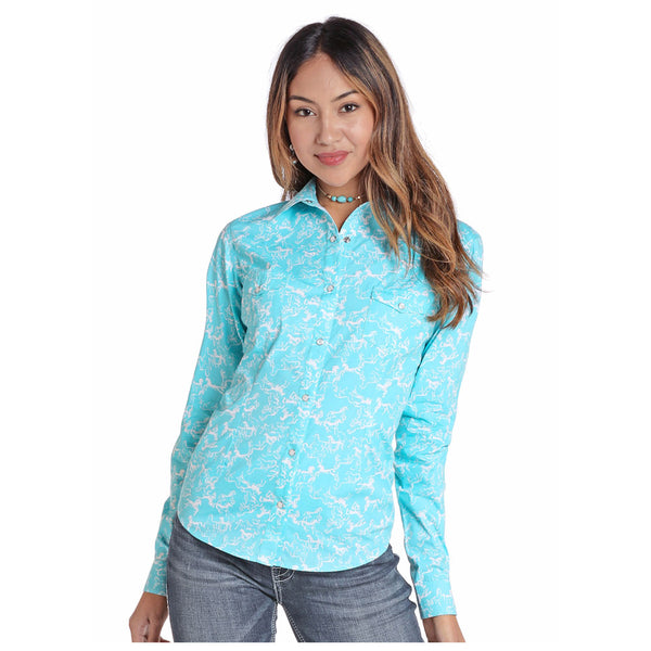 J2S4410 Panhandle Juniors Bright Turquoise Horse Print Snap Shirt