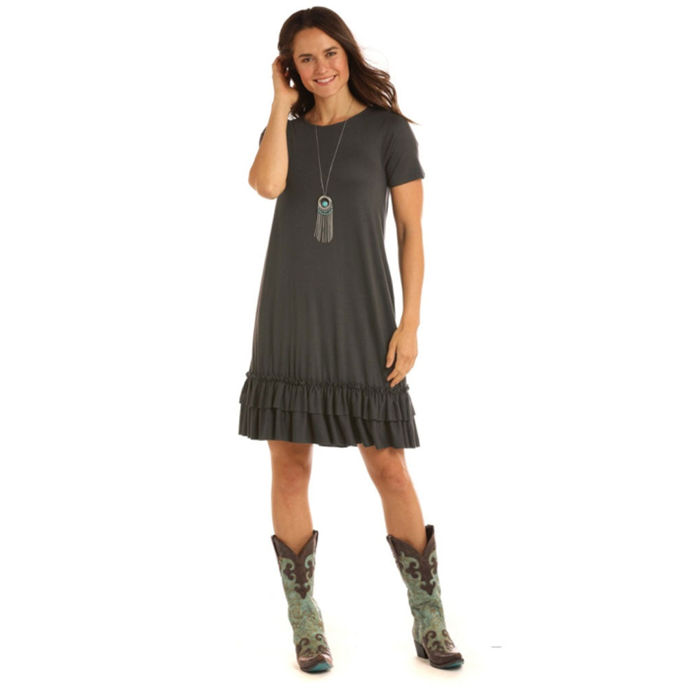 L9D1707 Panhandle Women's Short Sleeve Charcoal Dress w/Ruffle