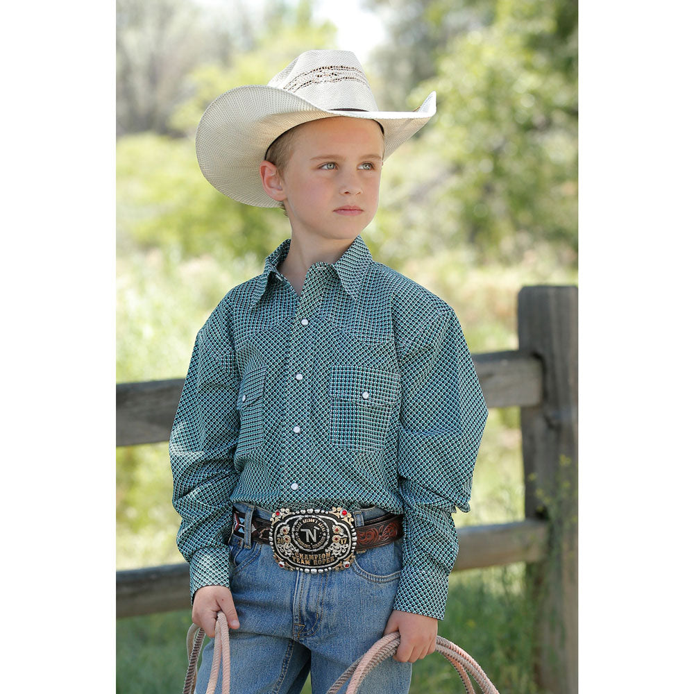MTW7020076 Cinch Boys Long Sleeve Teal Print Western Snap Shirt