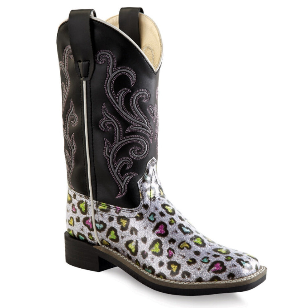 VB9123Y Old West Big Girls Colorful Hearts & Cheetah Print Western Boot Square Toe