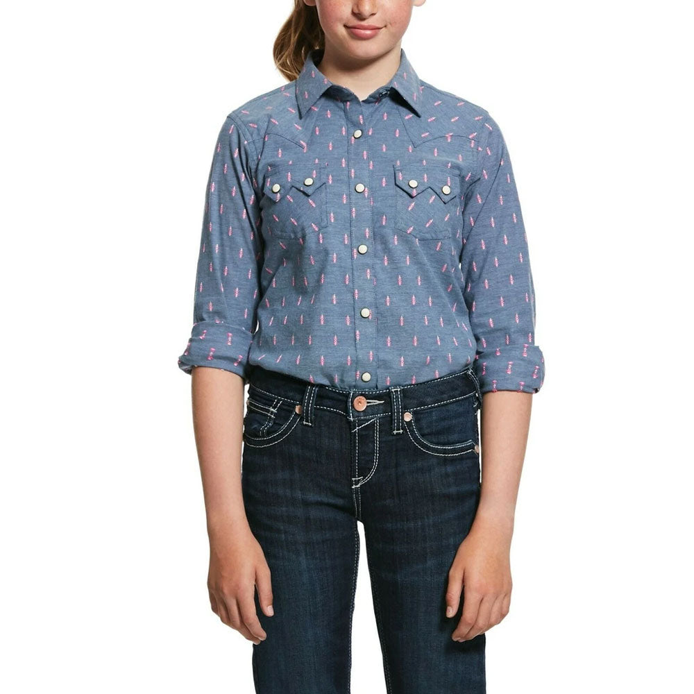 10032030 Ariat Girl's Blue Dobby R.E.A.L Faith Western Snap Shirt Long Sleeve