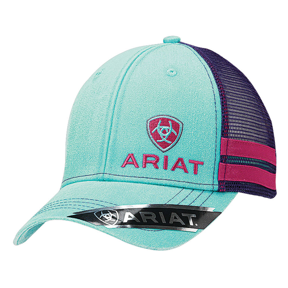 1595633 Ariat Women's Logo Ball Cap Turquoise & Purple