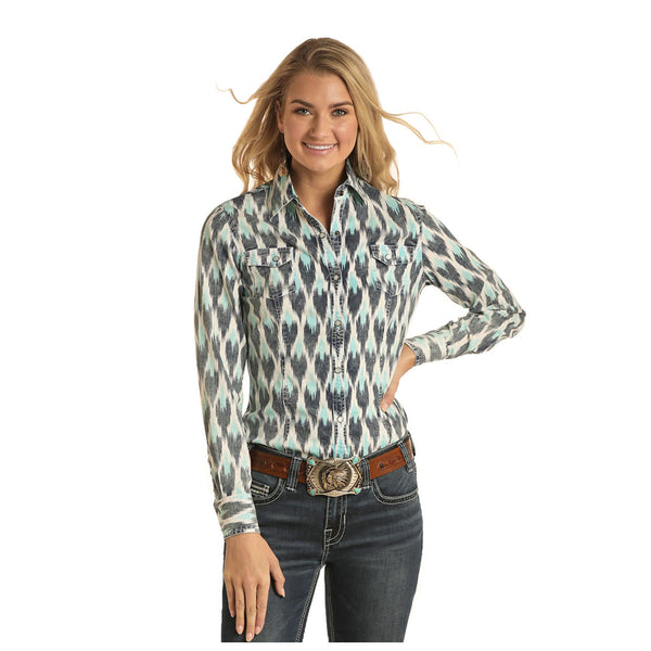 B4S4067 Rock & Roll Cowgirl Juniors IKAT Long Sleeve Western Snap Shirt