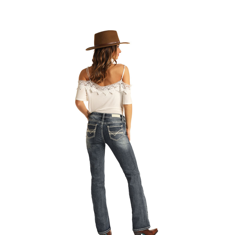 W1-5265 Rock & Roll & Cowgirl Juniors Midrise Bootcut Jeans