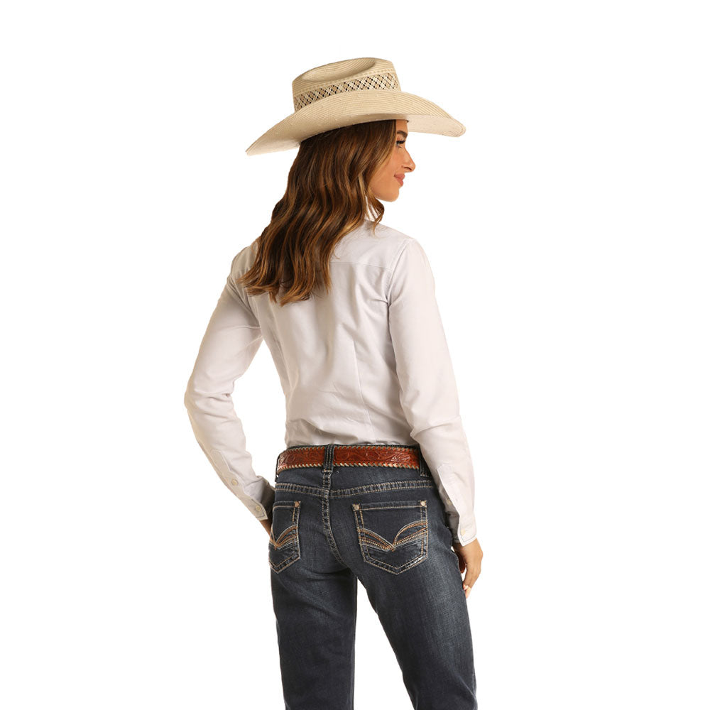 W7-5278 Rock & Roll Cowgirl Women's Dark Wash Riding Jeans Mid Rise
