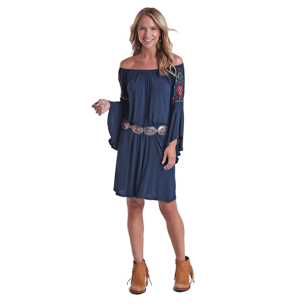 L9D5396 Panhandle Women's Navy Peasant Dress with Trumpet Sleeves & Embroidery