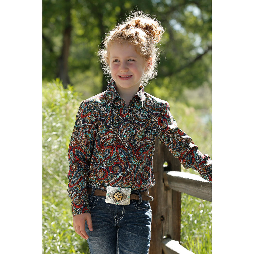 CTW3220022 Cruel Girl Girls' Long Sleeve Paisley Western Snap Shirt
