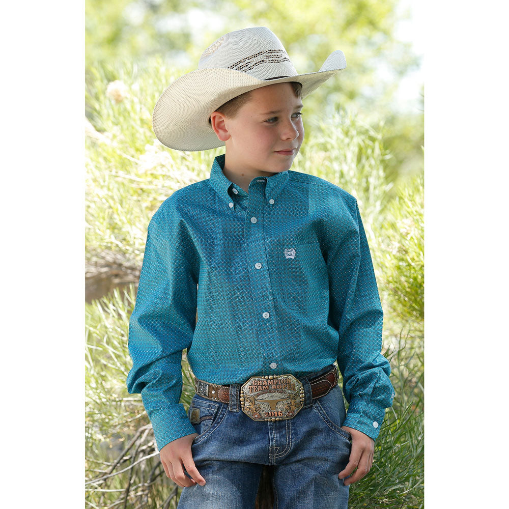 MTW7060232 Cinch Boys Long Sleeve Teal Print Western Button Down Shirt