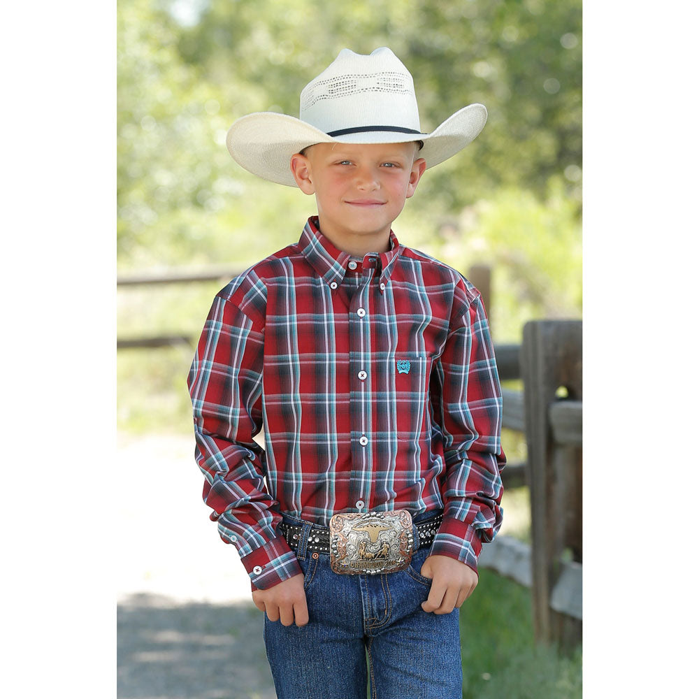MTW7060234 Cinch Boys Long Sleeve Red Plaid Western Button Down Shirt