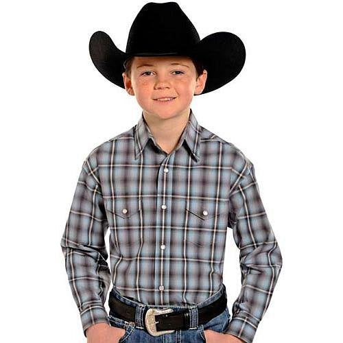 R2S9128 Panhandle Slim Boys Rough Stock Ludlow Ombre Plaid Western Snap Shirt