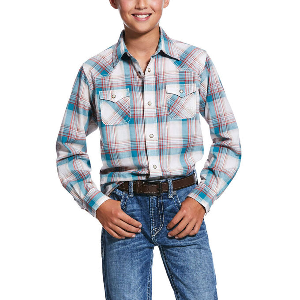 10031923 Ariat Boys Quillbrook Retro Fit Long Sleeve Plaid Western Snap Shirt
