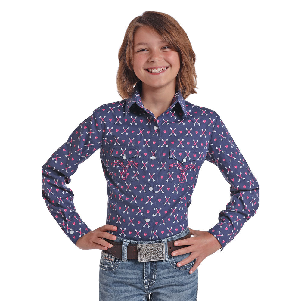 C6S5462 Panhandle Girls Long Sleeve Arrow Print Western Snap Shirt