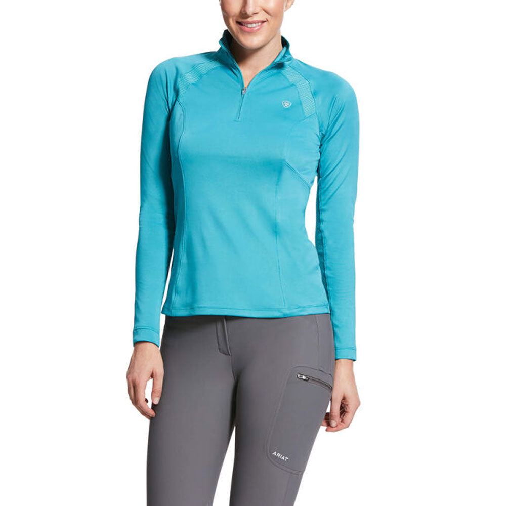 10030433 Ariat Women's Sunstopper 2.0 1/4 Zip Baselayer  Botox Blue