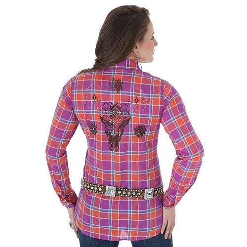 LJ7951M Rock 47 by Wrangler Long Sleeve Plaid with Stud/Screenprint Design - Fuscia/Orange