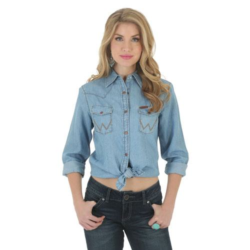 LW8651D Wrangler Ladies Long Sleeve Denim Shirt with Contrast Stitching