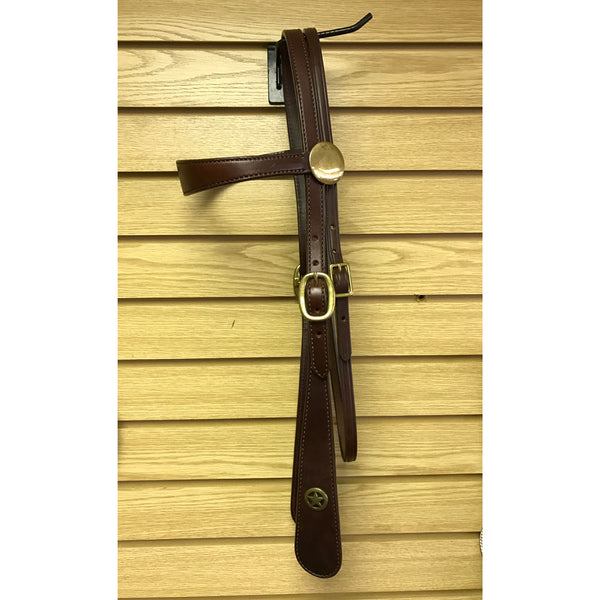 177 Tucker Old West Headstall Tooled Brown with Brass Hardware