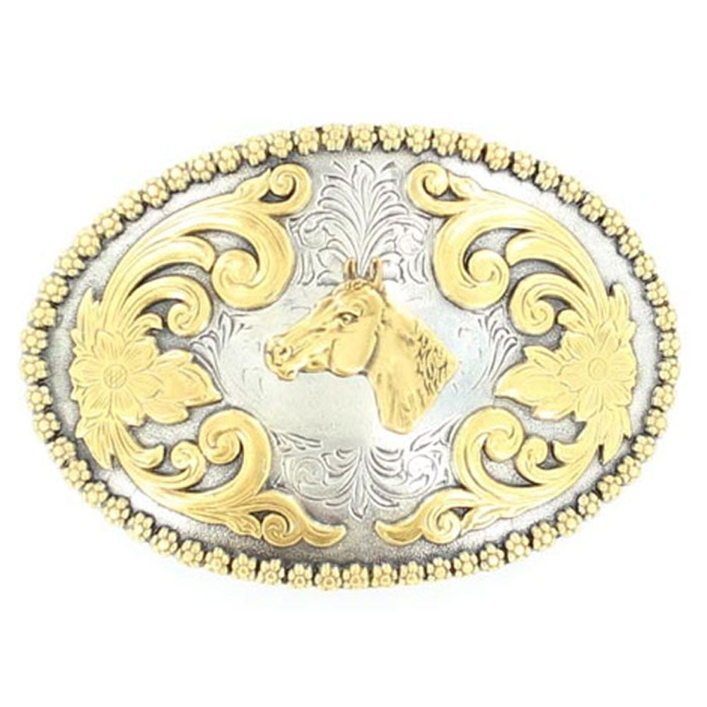 3756607 Nocona Men's Oval Floral Embossed Belt Buckle