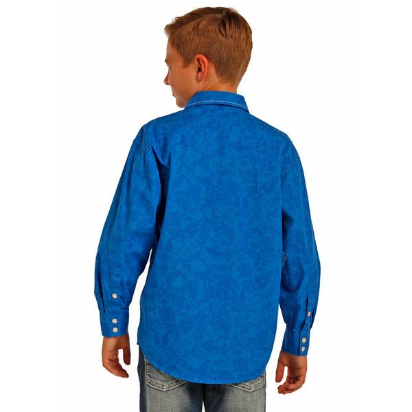 B8S2067 Boy's Rock & Roll Cowboy Blue Paisley Western Snap Shirt