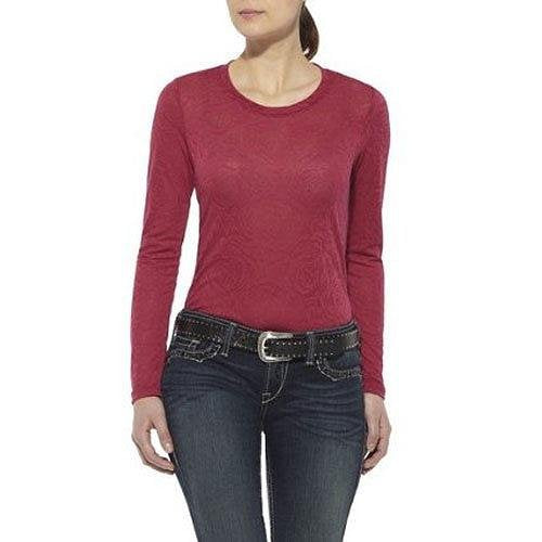 10011597 Ariat Womens Rose Jaquard Long Sleeve Top - Lush Berry