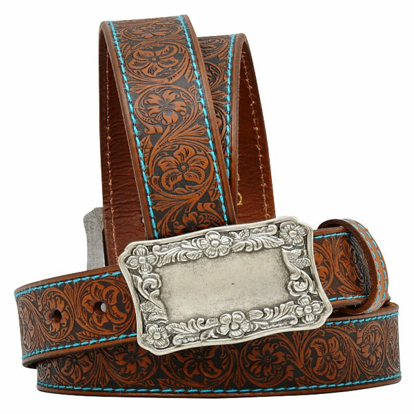 A6012 Women's Angel Ranch Tooled Brown Leather Belt