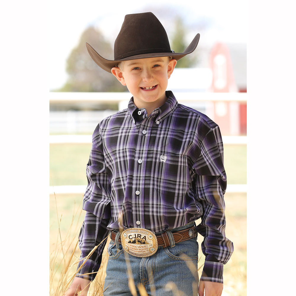 MTW7060173 Cinch Boys Western Long Sleeve Western Plaid Shirt