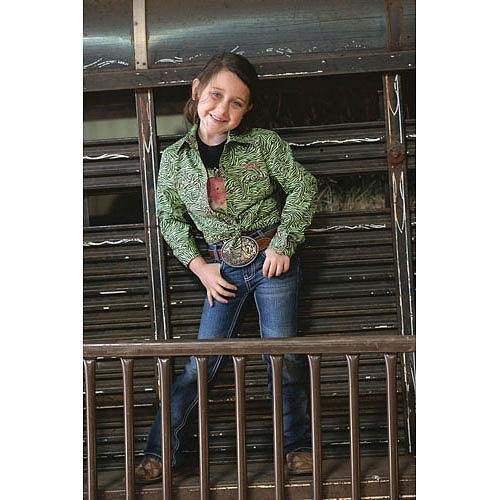 CTW3030001 Cruel Girl Children's Lime Zebra Print Long Sleeve Western Shirt