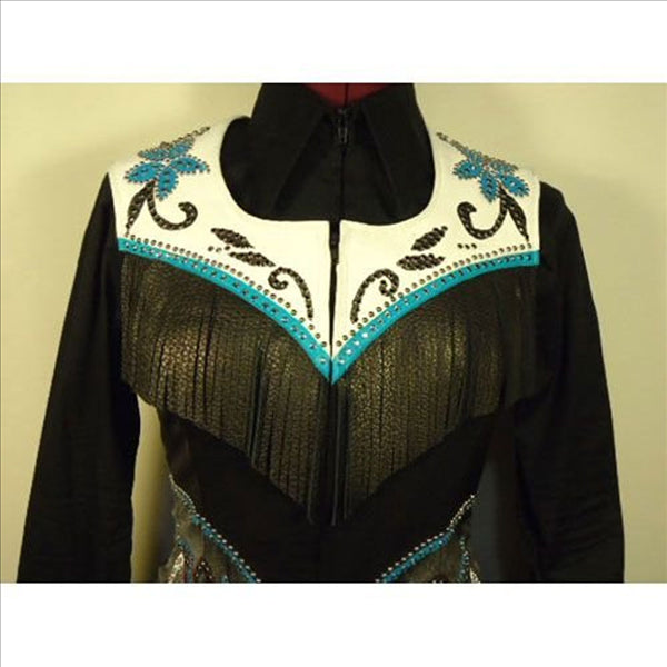 141962 Wire Horse LTD. Turquoise, Black & White Hand Painted Floral Western Fringe Vest Ladies Large