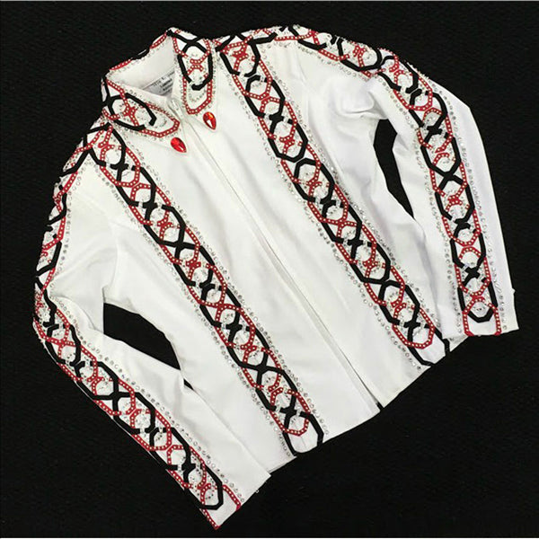 141911 Wire Horse LTD. Ladies White Horse Show Tunic Jacket Red & Black