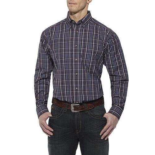 10011456 Ariat Mens Drake Long Sleeve Performance Shirt - Midnight Orchid Small
