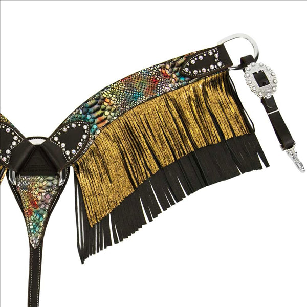 FT10202A Rainbow Snake Fringe Breast Collar Fallon Taylor Collection