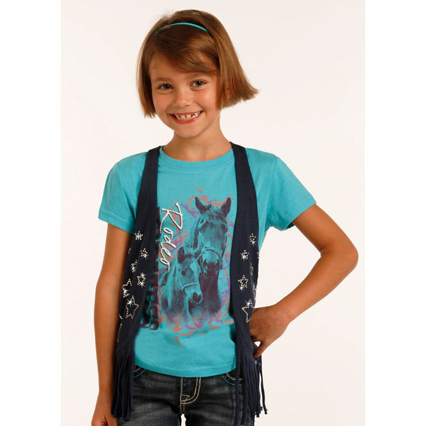 G3V2639 Rock & Roll Cowgirl Girl's Navy Fringe Vest with Rhinestone Stars