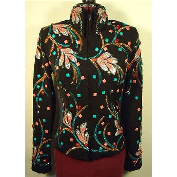 141897 Wire Horse LTD. Black, Pink & Turquoise Hand Painted Western Jacket Ladies Small