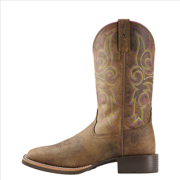 10018527 Ariat Women's Hybrid Rancher Western Cowgirl Boot Square Toe Brown