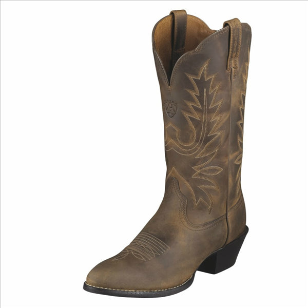 10001021 Ariat Women's Heritage Western R Toe Cowboy Boots Distressed Brown