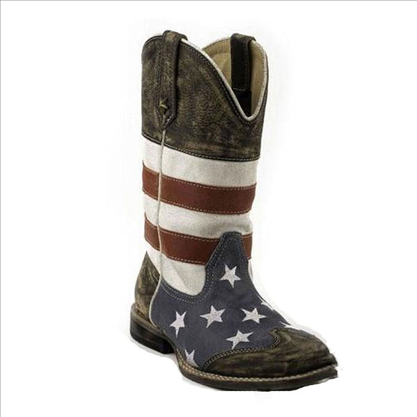 09-018-0903-0103 Roper Kids Square Toe Leather Western Cowboy Boot w/ American Flag