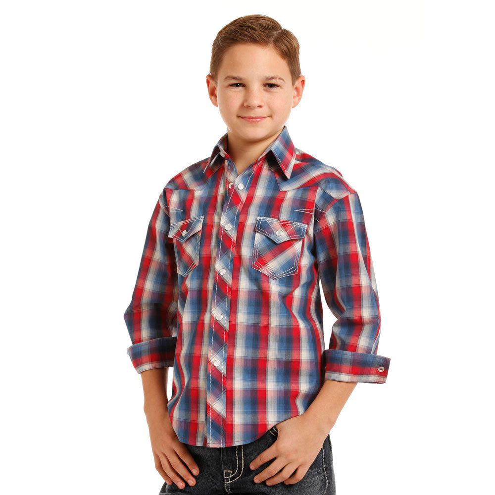 B8S3122 Rock & Roll Cowboy Boys' Red, White & Blue Plaid Western Snap Shirt