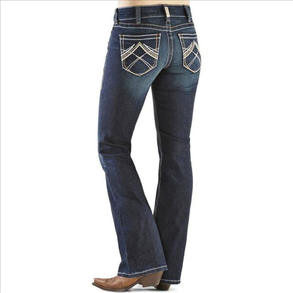 10014022 Ariat Women's REAL Riding Jeans - Whipstitch Ocean