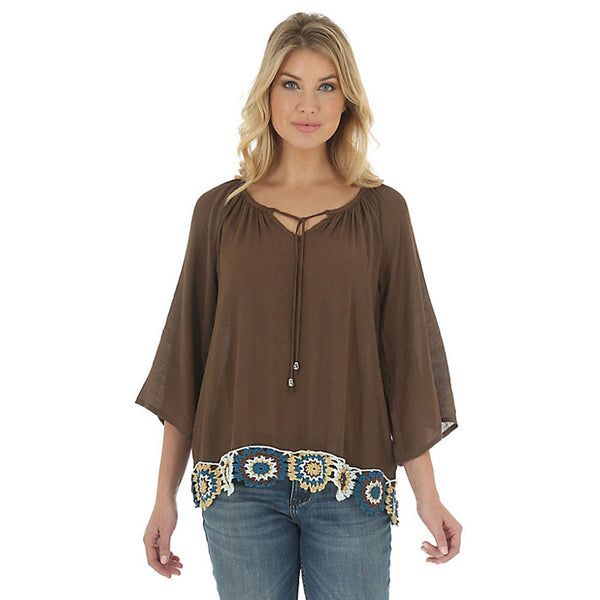 LW3907E Wrangler Women's Three Quarter Sleeve V Neck Embroidery Hem Swing Top
