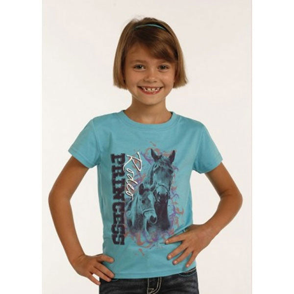 G3T2633 Rock And Roll Cowgirl Girl's Rodeo Princess T-Shirt- Sky Blue