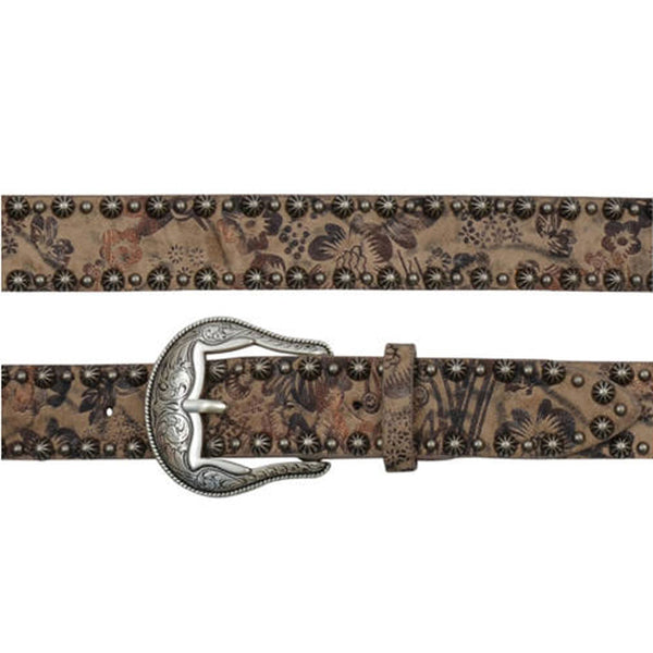 A6104 Angel Ranch Women's 1 1/2 Inch Metallic Floral Print Western Belt
