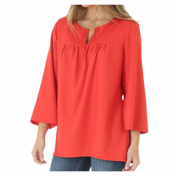 LW3331R Wrangler Women's Peasant Top Blouse - Hibiscus Red